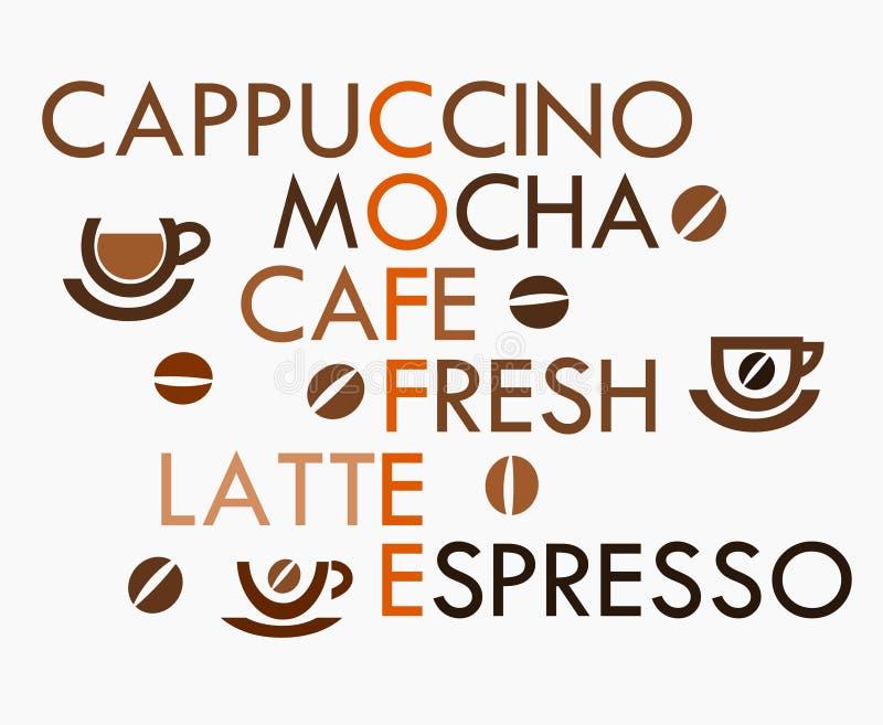 Palavras cruzadas do café ilustração royalty free