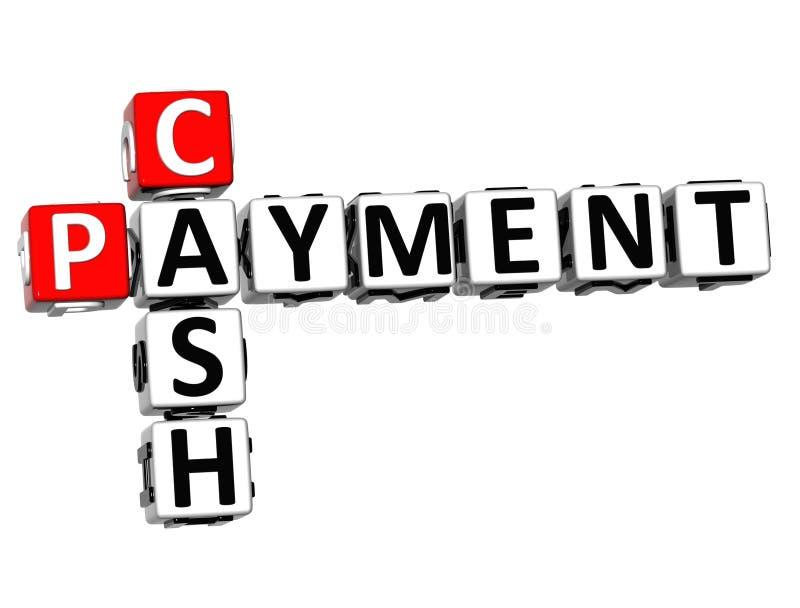 palavras cruzadas do pagamento em dinheiro 3D no fundo branco ilustração do vetor