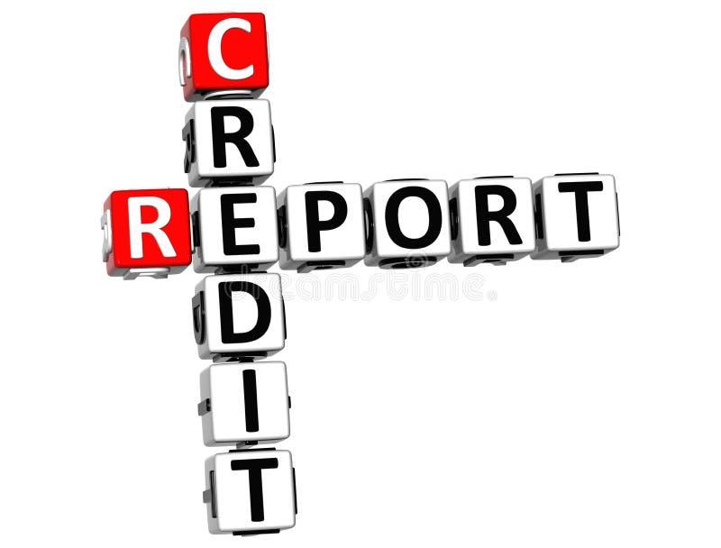 palavras cruzadas do relatório de crédito 3D ilustração do vetor