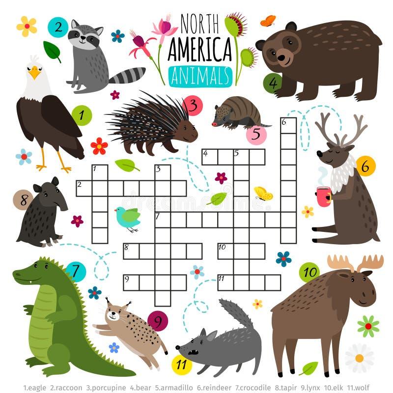 Palavras cruzadas dos animais Quebra-cabeça das palavras das crianças com grupo do animal de America do Norte, palavra que procur ilustração stock
