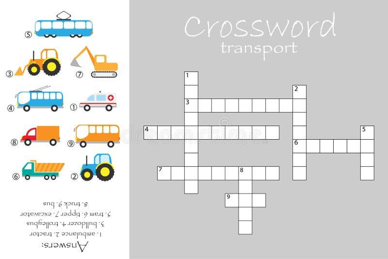 Palavras cruzadas para o tema das crianças, da construção e do transporte público, jogo para crianças, atividade pré-escolar da e ilustração stock