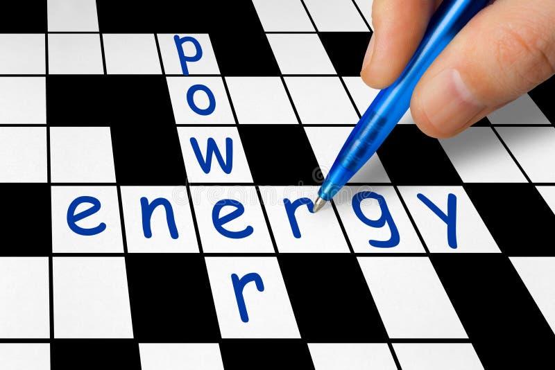 Palavras cruzadas - potência e energia imagens de stock