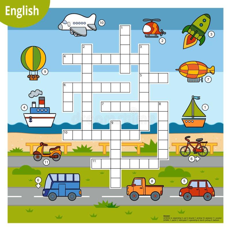 Palavras cruzadas vetoriais em inglês, jogo educacional para crianças Cartoon set de transporte ilustração royalty free