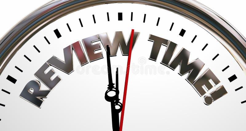 Palavras da avaliação de avaliação do relógio de ponto da revisão ilustração royalty free