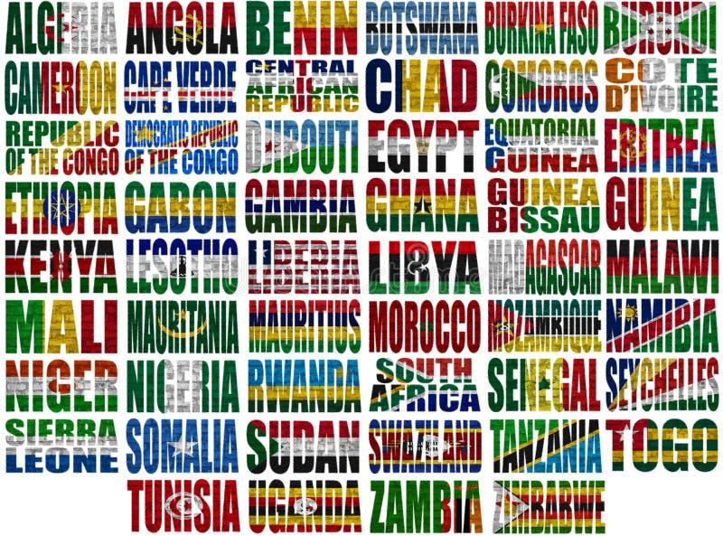 Palavras da bandeira de países de África ilustração royalty free