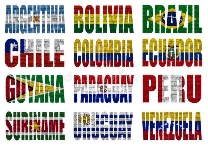 Palavras da bandeira de países de Ámérica do Sul ilustração royalty free