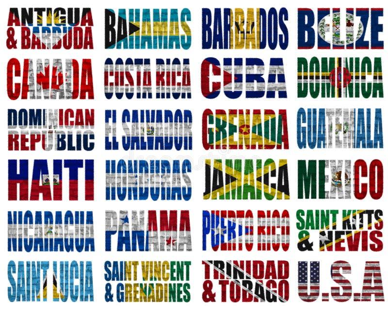 Palavras da bandeira de países de America do Norte ilustração stock