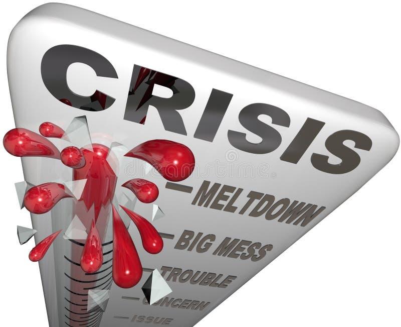 Palavras da emergência do problema da confusão da fusão do termômetro da crise ilustração do vetor