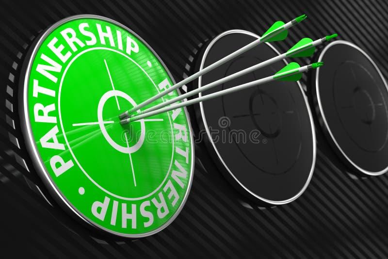 Palavras da parceria no alvo verde. imagens de stock