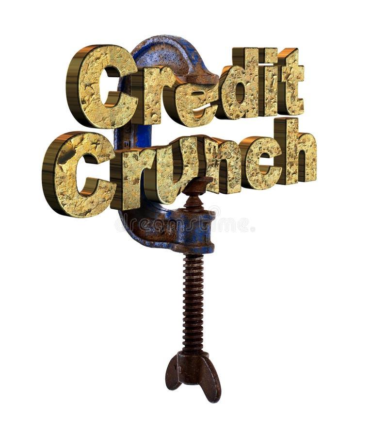 Palavras da trituração de crédito em um vício fotografia de stock royalty free