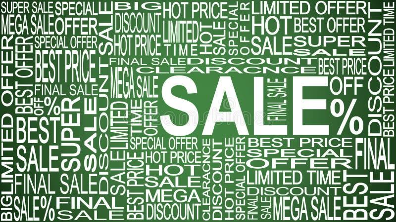 Palavras da venda Vendas relativas à promoção Armazene o conceito da venda ilustração do vetor