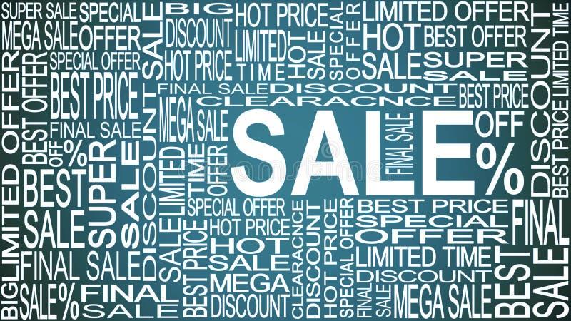 Palavras da venda Vendas relativas à promoção Armazene o conceito da venda ilustração royalty free