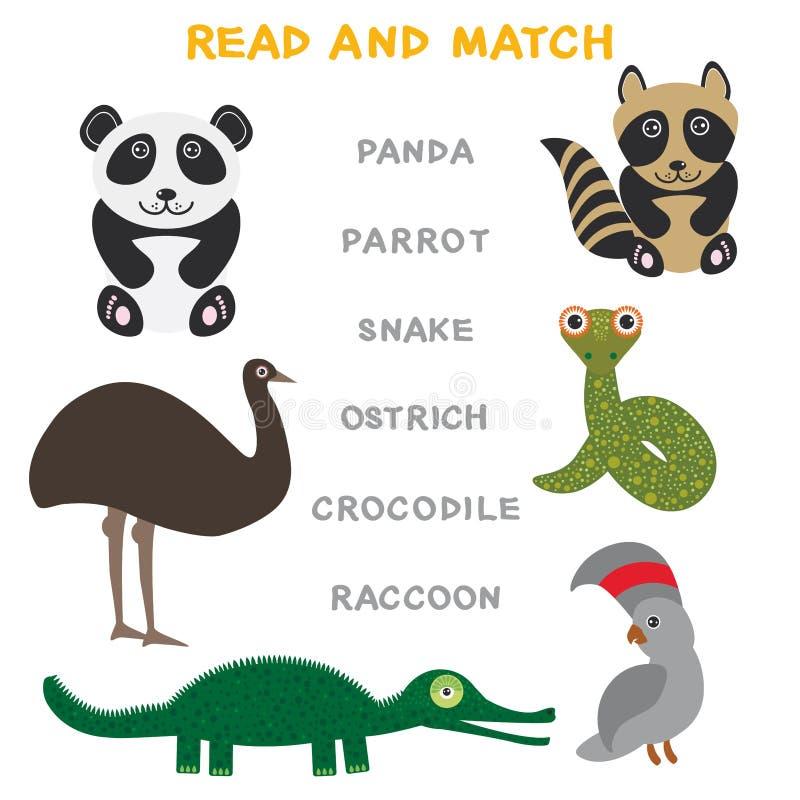 Palavras das crianças que aprendem a folha do jogo lida e o fósforo Jogo educacional do papagaio engraçado da panda do crocodilo  ilustração royalty free