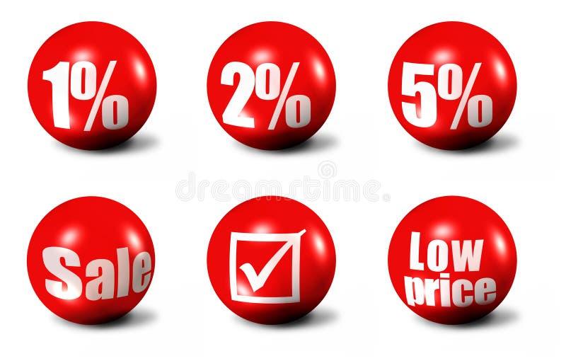 Palavras das vendas e ícones dos números ilustração do vetor