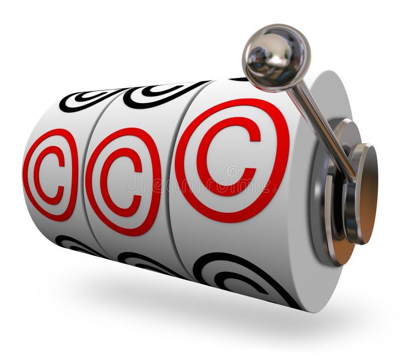 Palavras de slot machine do símbolo de Copyright três letras de C ilustração do vetor