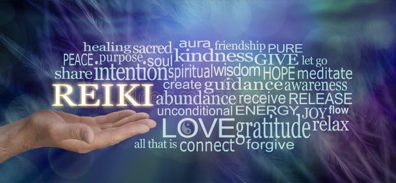 Palavras delicadas de Reiki da nuvem da palavra da sabedoria foto de stock royalty free