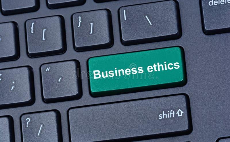 Palavras do ética comercial no teclado de computador fotografia de stock royalty free