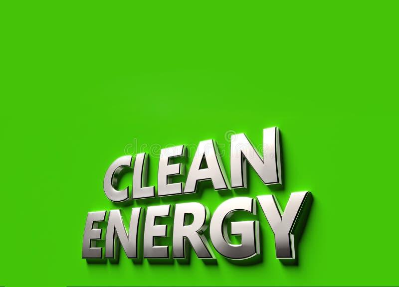 Palavras do combust?vel da energia limpa como o conceito do sinal 3D ou do logotipo colocado na superf?cie verde com espa?o da c? ilustração royalty free