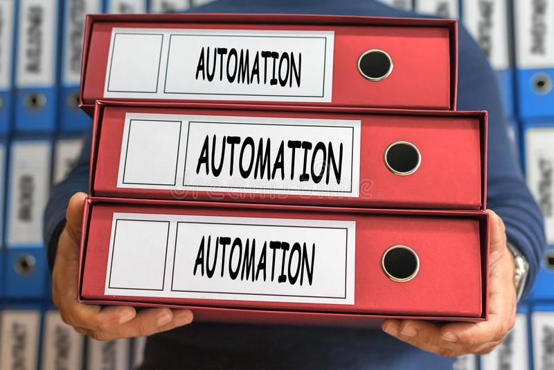 Palavras do conceito da automatização Conceito do dobrador Ring Binders imagem de stock royalty free
