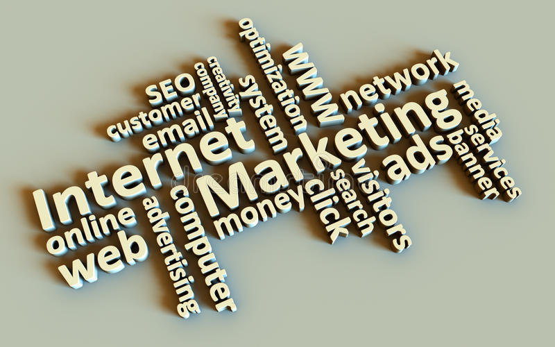Palavras do mercado do Internet ilustração stock