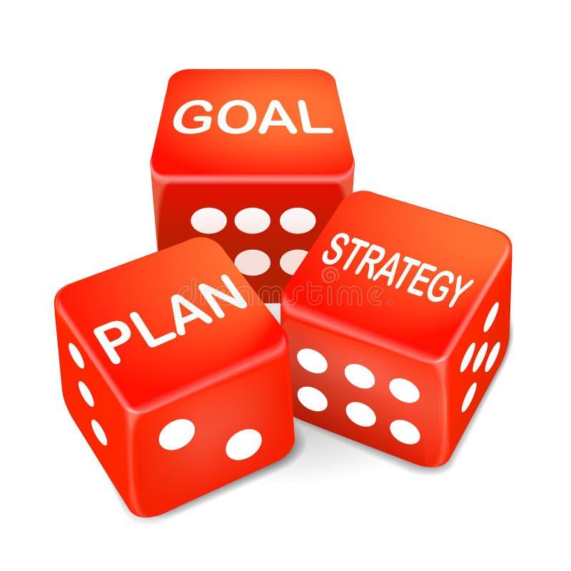 Palavras do objetivo, do plano e da estratégia em três dados vermelhos ilustração royalty free