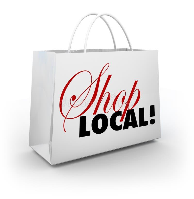 Palavras do saco de compras da comunidade do apoio local da loja ilustração stock
