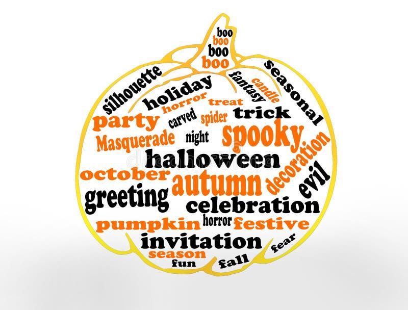 Palavras felizes de Halloween ilustração do vetor