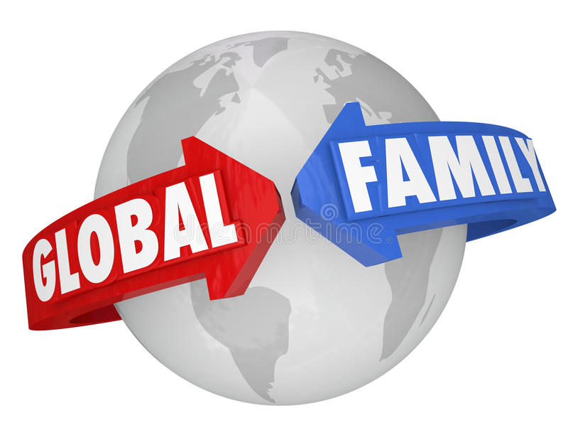 Palavras globais da família em torno dos objetivos comuns da comunidade da terra do planeta ilustração royalty free