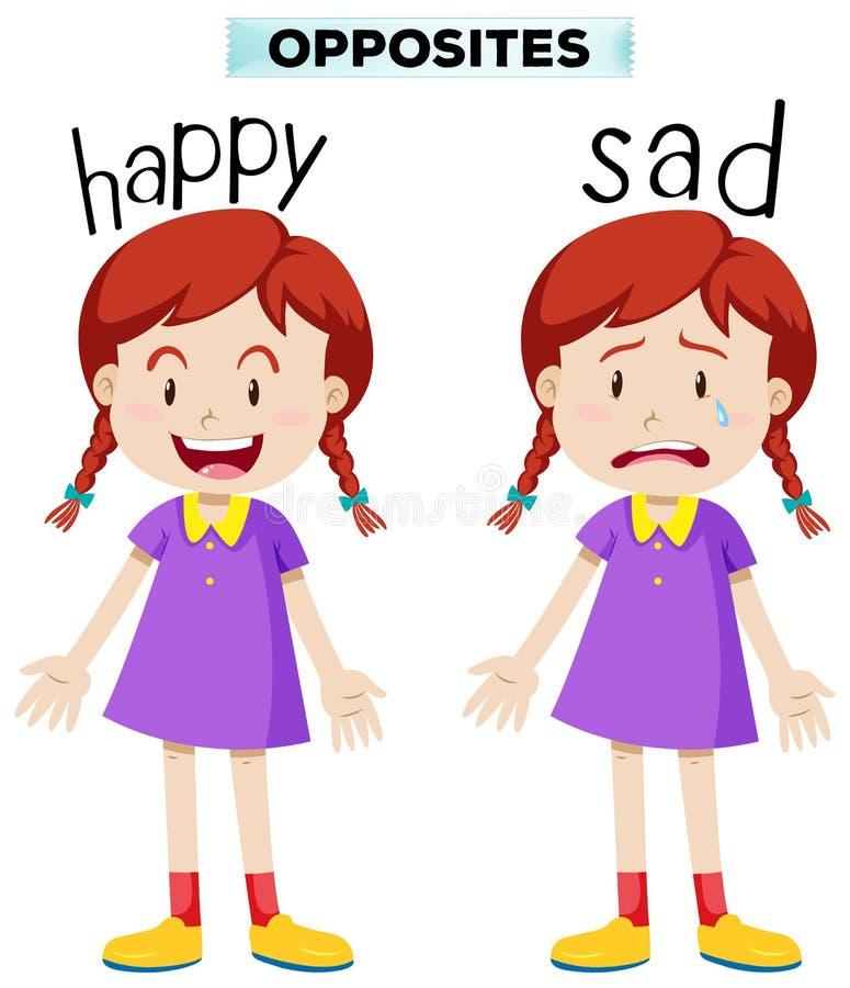 Palavras opostas com feliz e o triste ilustração royalty free