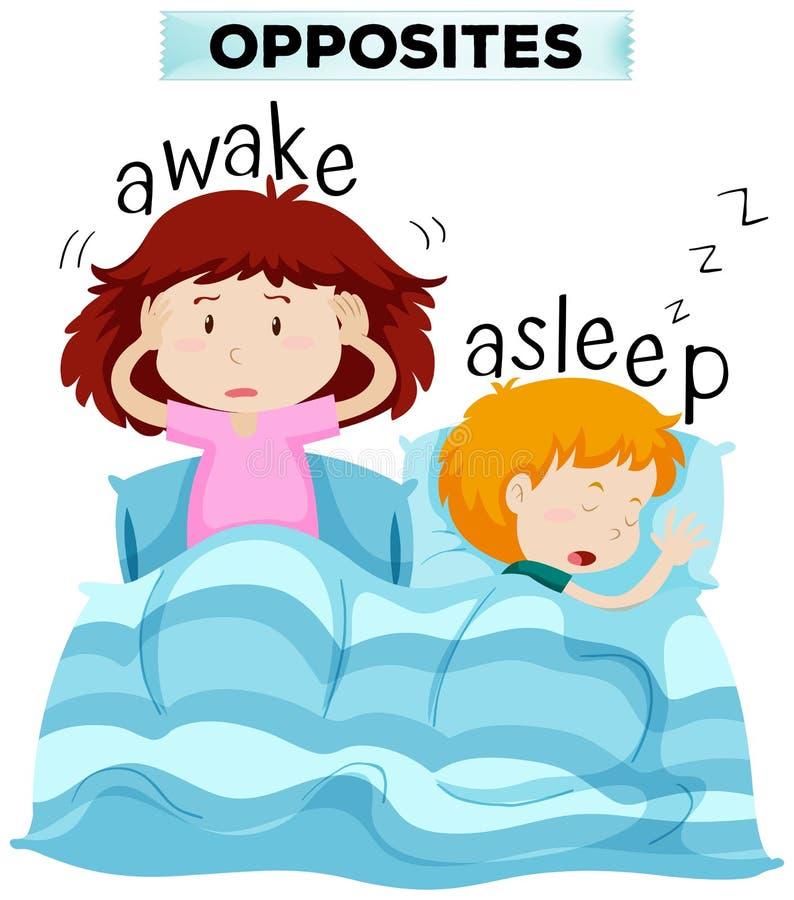 Palavras opostas para acordado e adormecido ilustração do vetor