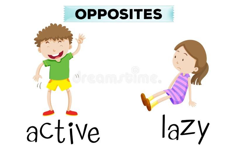 Palavras opostas para ativo e preguiçoso ilustração royalty free
