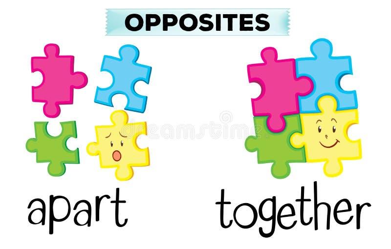Palavras opostas para distante e junto ilustração stock