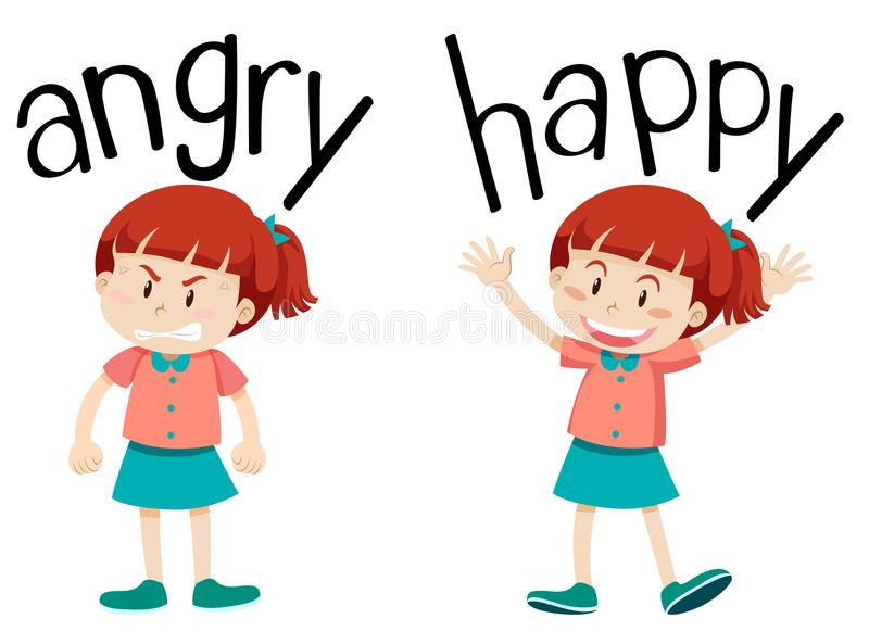 Palavras opostas para irritado e feliz ilustração stock