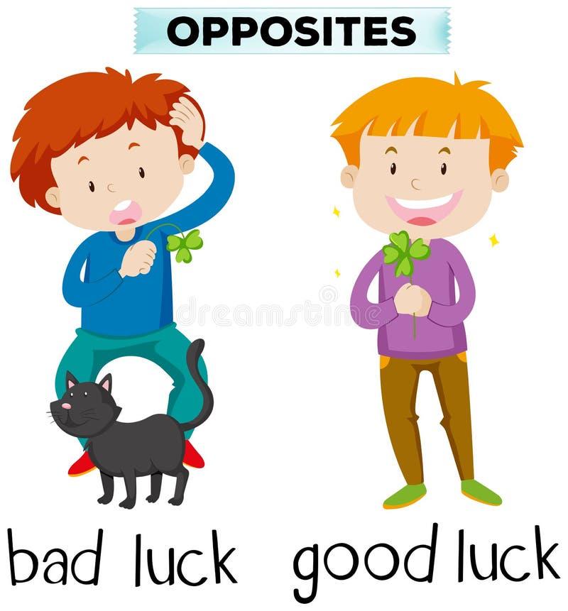 Palavras opostas para a má sorte e a boa sorte ilustração do vetor
