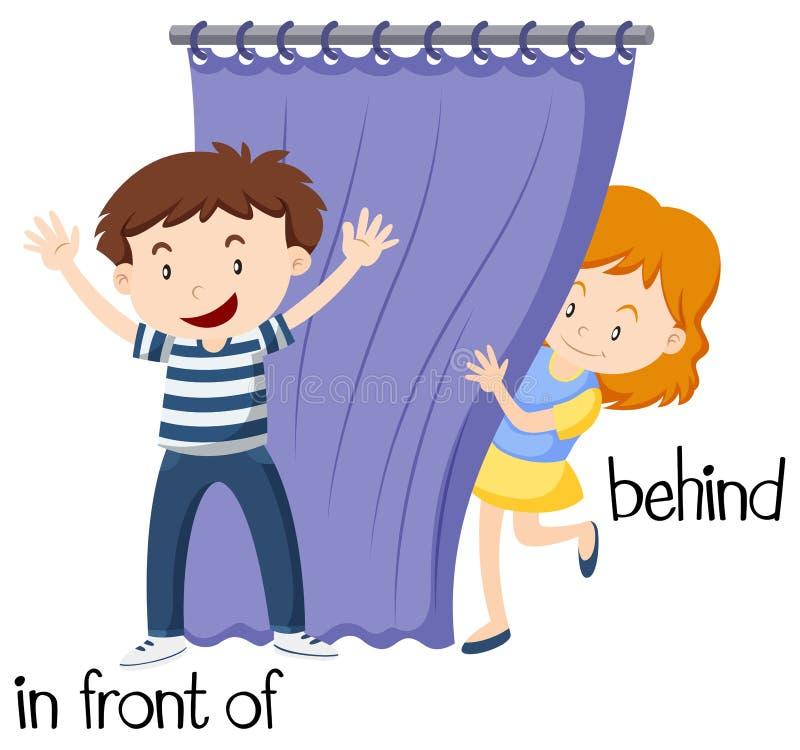 Palavras opostas para na frente de e atrás ilustração royalty free