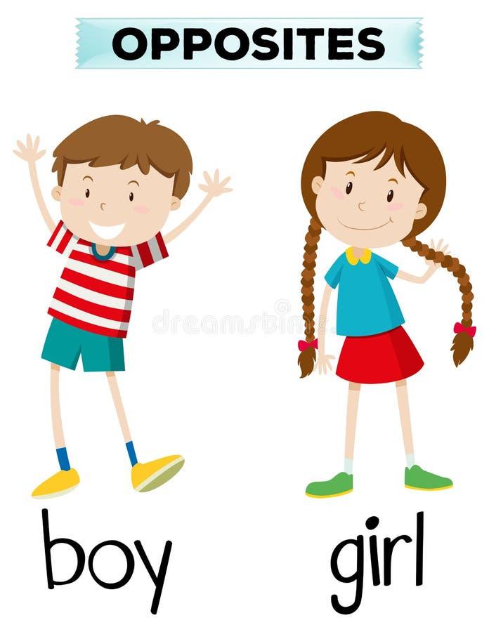 Palavras opostas para o menino e a menina ilustração royalty free