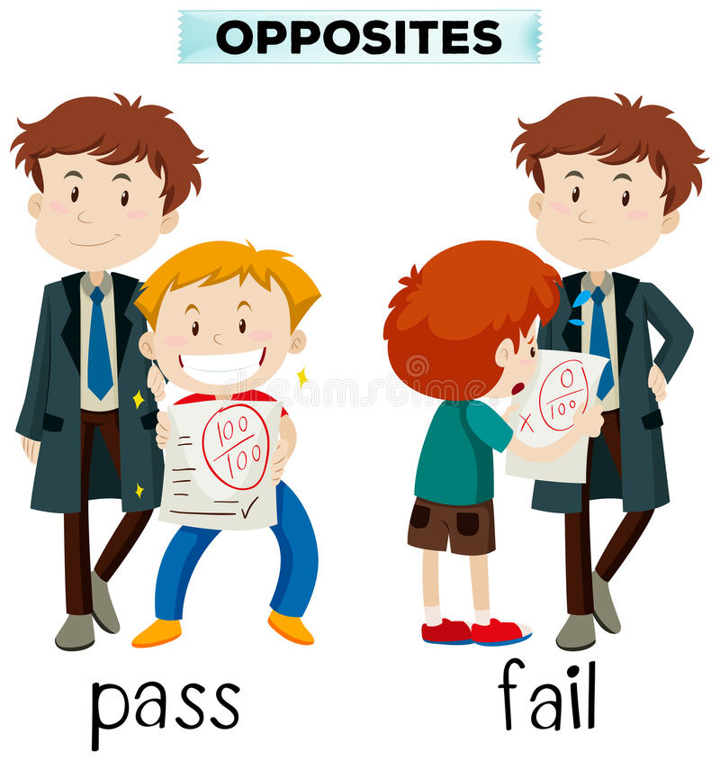 Palavras opostas para a passagem e a falha ilustração stock