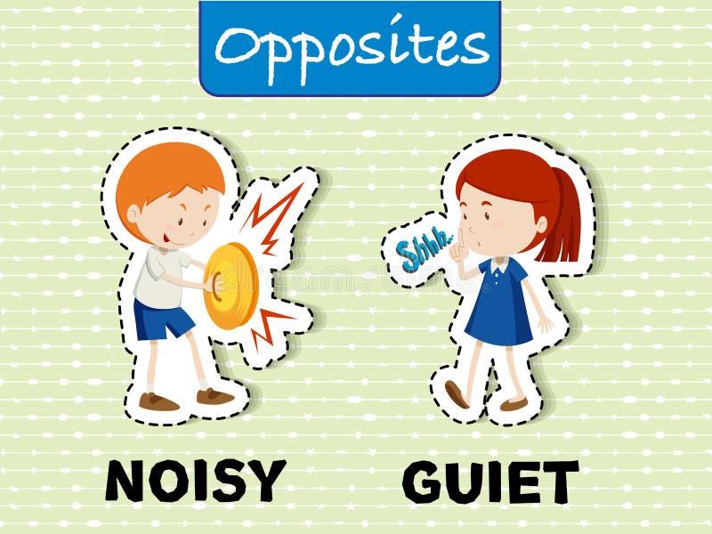 Palavras opostas para ruidoso e quieto ilustração royalty free
