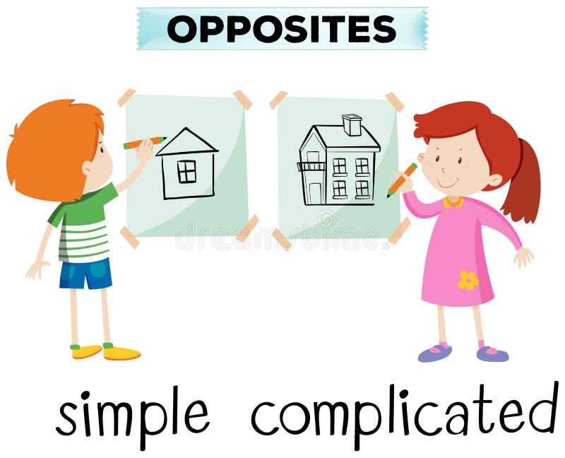 Palavras opostas para simples e complicado ilustração royalty free