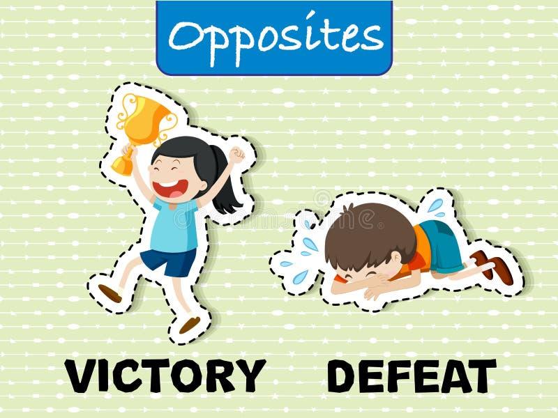 Palavras opostas para a vitória e a derrota ilustração stock