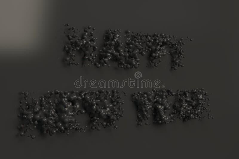 Palavras pretas líquidas do ano novo feliz com gotas no fundo preto ilustração royalty free