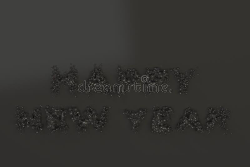 Palavras pretas líquidas do ano novo feliz com gotas no fundo preto ilustração stock