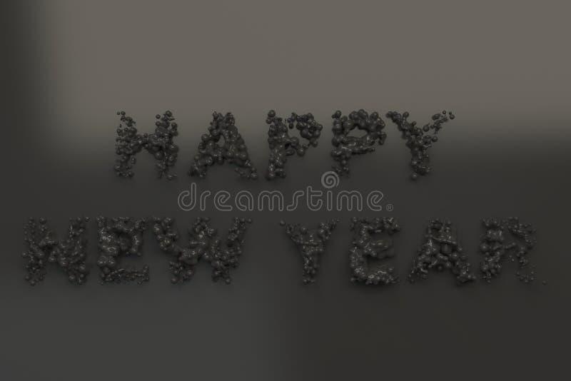 Palavras pretas líquidas do ano novo feliz com gotas no fundo preto ilustração do vetor