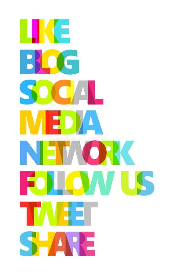 Palavras sociais da cor dos media ilustração royalty free