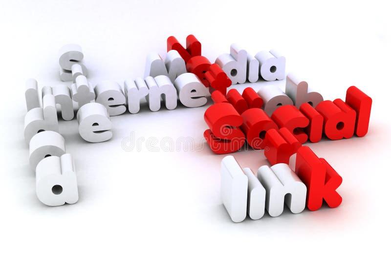 Palavras sociais da cruz da rede ilustração stock