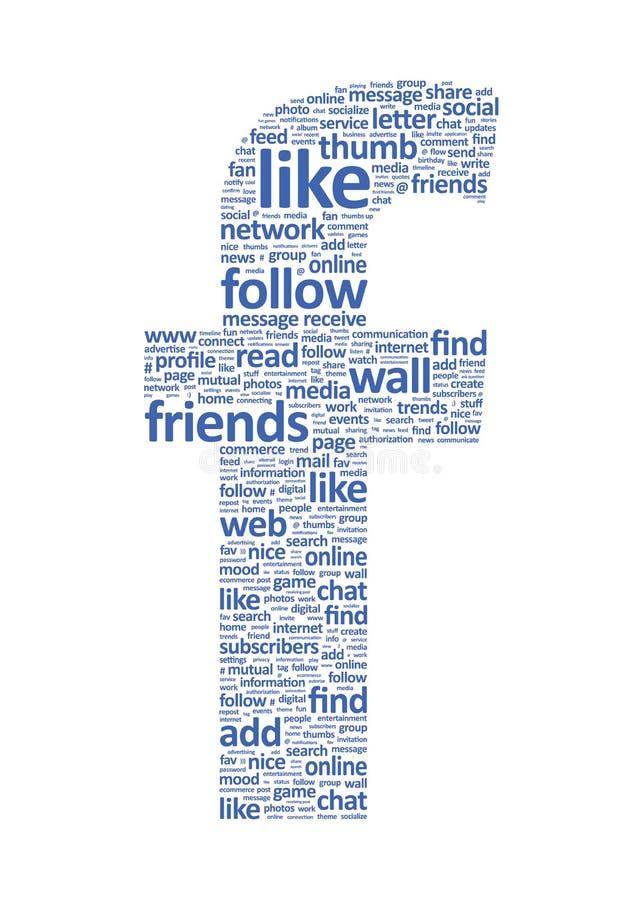 Palavras sociais da rede de Facebook ilustração do vetor