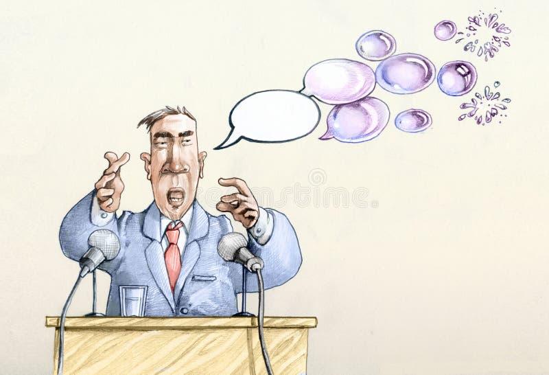 Palavras vazias de político ilustração stock
