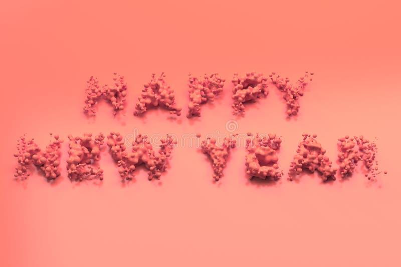Palavras vermelhas líquidas do ano novo feliz com gotas no fundo vermelho ilustração royalty free