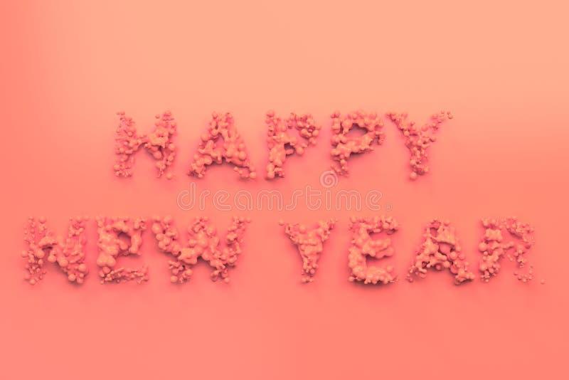 Palavras vermelhas líquidas do ano novo feliz com gotas no fundo vermelho ilustração stock
