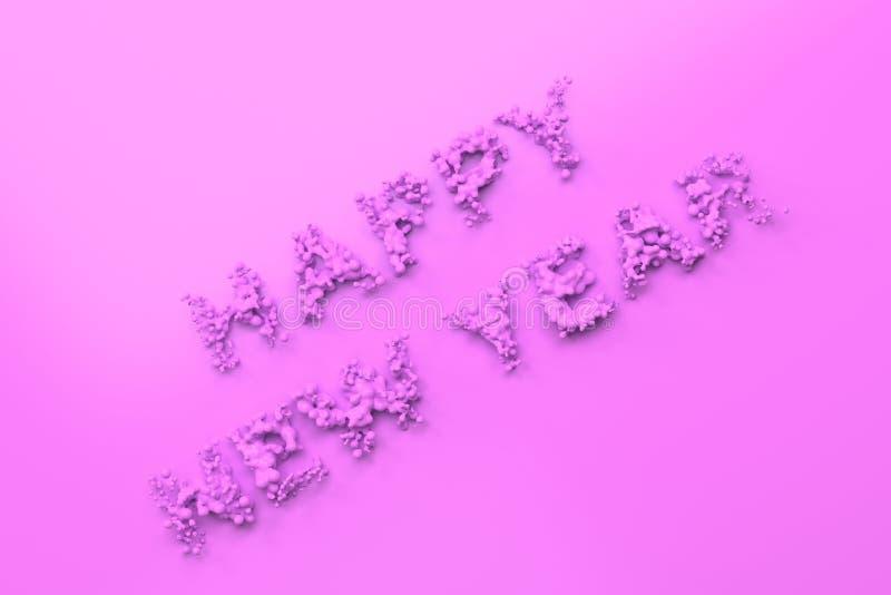 Palavras violetas líquidas do ano novo feliz com gotas no fundo violeta ilustração do vetor